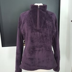 North face Purple fuzzy 1/4 zip pullover